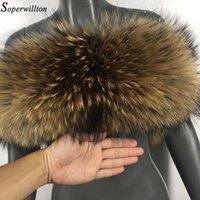 Natürliche Pelz 2019 Neue Winter 100% Waschbärpelz Echte Kragen Womens Schals Mode Mantel Pullover Schals Kragen Luxus Nackenkappe D88 T200103