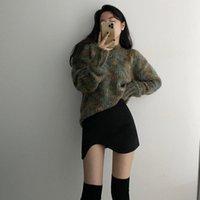 HKCP Fashion Donne Maglione Casual Ufficio Lady O-Neck Manica Lunga Allentato Colore Misto Misto Maglia PullOvers Donne Tops Inverno 2021 Nuovo