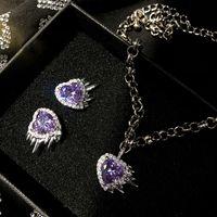 Lujo dulce fresco hermosa niña púrpura gemas colgante amor temperamento personalidad salvaje 925 plateado pendientes pendientes diamante collar
