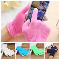 Touch Screen Gloves Knitting Winter Soft Texting Cap Active Smart Phone Driving Glove Solid Color Outwear Warm Wrist Gloves LJJP594