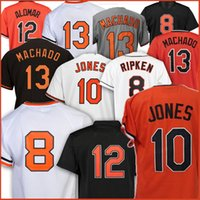 Hommes 8 cals Ripken Jr. Jerseball Jerseys 8 Cal Ripken Jr. 13 Manny Machado 12 Roberto Alomar 10 Jerseys Adam Jones