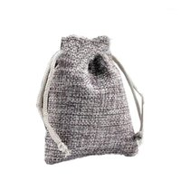 50 шт. Натуральные льняные мешковины Джутовые пальмы Drawstring Подарочные сумки свадьба WABLE SACK1