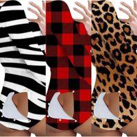 Plaid Leopard Tiger Zebra Skinny Bodysuit Jumpsuit Strampler Sexy Patch Tail Offene Schritt Onesies Langarm Einteiler Hosen Shorts HH2303