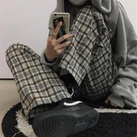 Kadın Pantolon Capris QWeek Vintage Ekose Kadınlar Japon Streetwear Geniş Bacak Kore Tarzı Elastik Yüksek Bel Gevşek Pantolon Moda
