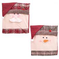 Decorações de Natal 2 pcs por conjunto 51 * 48 cm cadeira cobre removível santa boneco de neve chritmas festas bar decoração1