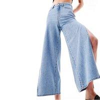 المرأة الجينز 2021 أوائل الصيف الإناث الرجعية التطريز الوطني سبليت الخصر الطبيعي فضفاض السراويل الساق واسع جينز 1