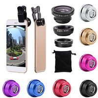 7 cores Universal 3 em 1 grande angular macro fisheye lente câmera lentes de telefone celular peixes olho lendes