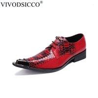 Vivodsicco Fashion Designer Snake Modèle Hommes Oxford Chaussures Rivet pointue Toe Derby Chaussures Derce De Mariage Mariage Dentelle Hommes Dress1