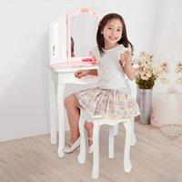 Waco Kids Vanity Makeup Table och stol Set, låtsas Skönhet Make up Avföring Spel för barn, Rosa med tre vikbar spegel