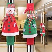 Decoraciones de Navidad Frigorífico cubierta de la manija de Navidad Microondas Horno Guantes Lovely muñeco de nieve Refrigerador Horno Cubierta de protección VT1840
