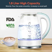 Electric Kettle Home Kitchen Appliances Cordless 1.8L LED light Electric Glass Kettle Automatic shut-off Boil-dry Protection