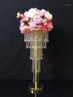 الذهب الجدول محور زهرة حامل 5 طبقات الثريا الكريستال مع الخرز خيوط الزفاف الدعائم 10PCS1