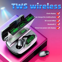 2021 NUEVO G6 TWS 5.1 Auriculares Bluetooth Sports Wireless LED Pantalla Ear Hook Auriculares Earphones IPX7 Auriculares impermeables con carcasa