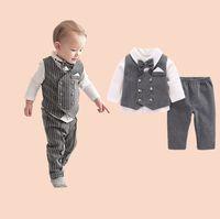 Детские Мальчики 1th дня рождения костюм Baby Дети луки Tie нагрудного длинный рукав + нашивка жилетка + штаны 3штов наборов Дети Джентльмен наряды A4678