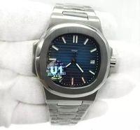 망 시계 블루 다이얼 투명 백 U1 공장 운동 새겨진 자동 기계식 스테인레스 스틸 남성 손목 시계