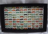 Olika Färg Natural Agate Stone Ring Bredd 6mm Agat Jewel Ring Jewel Hand Circle Ishing Jewelry Jlllgf Carshop2006