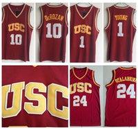 Vintage USC Trojans 24 Brian Scalábrino 1 Nick Young 10 Demar Derozan College Basketball Jerseys Costura Vermelho Camisas