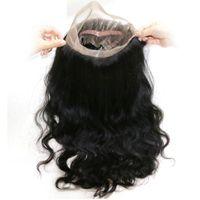 360 corps de dentelle de vague fronteaux Closures cheveux humains dentelle avec bébé fronteaux cheveux naturels Hairline réglable Bracelet Non Délestage Aucun embrouillement