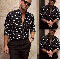 2021 erkek tasarımcısı polka dot erkek tasarımcı gömlek sonbahar uzun kollu rahat erkek gömlek sıcak satış stili