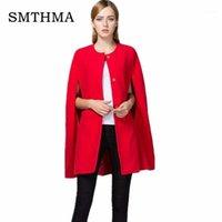 Muchas de lana para mujer Smthma Moda de alta calidad 2021 Distribuidor Pista de la manga de Batwing Capa de la capa Capa de Navidad roja1