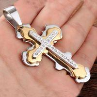 Acier inoxydable chaîne de liaison cristal jésus croix crucifix pendantnecklaces hommes bijoux de mode or argent couleur couleur cadeau