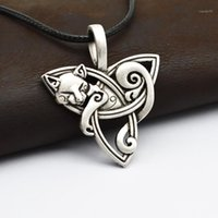 Wholesale- 1pcs Grands Viking Bijoux de Viking Triquetra Fenrir Animal Teen loup Collier Irish Celtics Knot Pendentif Collier amulette CT5261