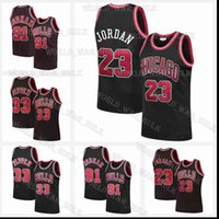 Black Bull 23 Michael MJ Jersey Dennis 91 Rodman Scottie 33 Pippen ChicagoMaglie di pallacanestro da uomo retrò