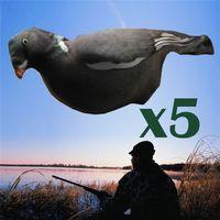 5 adet Floklu Tam Vücut Gerçekçi 3D Çekme Güvercinler Esnek Kumaş Decoys Kapakları 201116