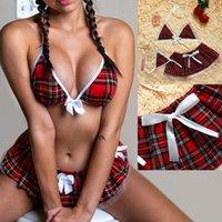 3шт женский сексуальный лук нижнее белье Pajamas женское белье равномерное мини юбка + стринги Sheer Mesh треугольник Bustier Soft See через * P
