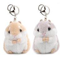 Sevimli Kız Kabarık Mini Hamster Anahtarlık Kadınlar Faux Kürk Pompoma Anahtarlık Biblolar Çanta Araba Anahtarlık Tutucu Takı Parti Gift1