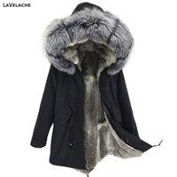 Lavelache Erkekler Parka Kış Ceket Gerçek Tavşan Kürk Uzun Su Geçirmez Büyük Artı Boyutu Doğal Fox Kürk Yaka Streetwear 201028