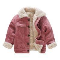Новый Зимний Одиночный Шерстяной Пальто для девочек Дети Одиночные Куртки Вельверов Для 1 2 3 4 года Утолщенные флисовые карманы Coats LJ201007