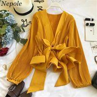 Neploe Dantelli Pileli Ruffles Blusa Sashes Vintage Kadın Bluz 2019 İlkbahar Sonbahar Yeni Moda Zarif V Yaka Gömlek 692731