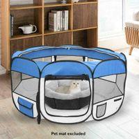 "45 ""600D Oxford Portátil Portátil Portátil Tienda suave Playpen Dog Cat Dobling Crañe Blue"