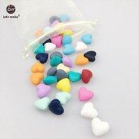 Sobreates Deceders Hagamos 300pc Beads de silicona Mezclar Color Forma de corazón Forma de corazón DIY Collar Pulsera Niño Niño Enfermería Gimnasio Juguetes Bebé TE