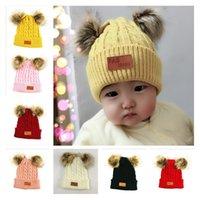 الأطفال الرضع بيني الشتاء الوليد الاطفال الرضع صوف محبوك قبعة قبعة صغيرة مع اثنين من مزدوجة بوم بوم قبعة صغيرة بنين فتاة الكروشيه القبعات E101003