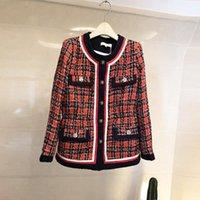 여성용 재킷 겨울 트위드 코트 2021 봄 우아한 여성의 작은 향수 긴 소매 활주로 재킷 패션 컬러 블록 체크 무늬 슬림 C