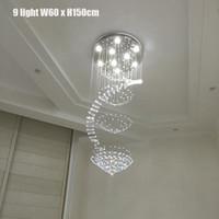 Роскошные Led Рейндроп Люстра Crystal Light GU10 светодиодные лампы Лампы заподлицо лестничный Крепеж из нержавеющей стали холодный белый 110V 220V