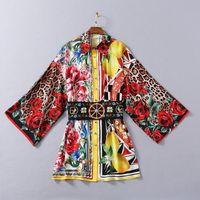 XL 1229 Plus Size Dress Dress 2021 Estate A Summer A Line Abito a maniche lunghe Prom Fashion Flora Stampa Vestito Collo Del Collo Stesso Stile Abito SH