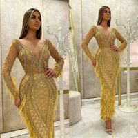 Luxury Yellow Prom Dresses Long Sleeves Sequins Beads Evenin...