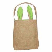 Пасхальный кролик сумка DIY мешковины Пасхальная корзина сумка 14 цветов двойной слой кролика уши дизайн с джутовым материалом ткани 20 j2