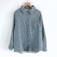 Kırsal rüzgar baskı yaka, yumuşak çift pamuklu gömlekli çizgisiz üst giysi render kadın sonbahar yeni bluz1