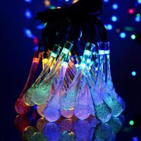30 LED de la bola cristalina de la gota del agua con energía solar Globo Hada 8 Efecto de Trabajo para el jardín al aire libre de Navidad decoración Luces HHB2387