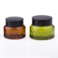 200 х 15G 30G 50G янтарного Зеленый Синего крем стекло Jar с черными Люками белой печать Контейнер Косметика Упаковки Пота