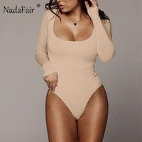 Nadafair Winter Women Bodysuit Long Sleeve White Bodycon Bodysuit Women Black Body Female For Woman Cutout Fleece Romper 201007