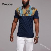 WEPBEL Stitching Printed Short Sleeve Tops Men's National Style T-shirt Plus Size African Style Bottoming Shirt Pullover Tshirts