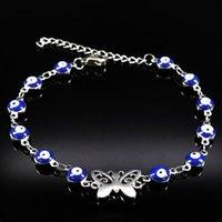 Link, Kette 2021 Silber Farbe Schmetterling Edelstahl Charms Armband Für Frauen Blau Evil Eye Schmuck Geschenk Bijoux Femme B17912