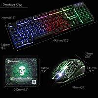 T6 светящейся клавиатура и мышь набор настольного компьютера игра манипулятором ощущение клавиатуры и мыши Комбо бесплатная доставка