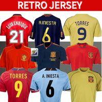 2010 Espanha Retro Soccer Jerseys 1994 Copa do Mundo Raul Xavi Hierro Luis Ensrique Xavi Alonso Caminero Iniesta Puyol Pique David Villa