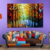 Colorful Palette Knife Oil Painting Prints on Canvas Raining Street Giclee Print Canvas Painting Wall Art For Living Room Decor1